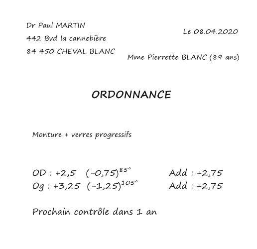 ordonnance opticien